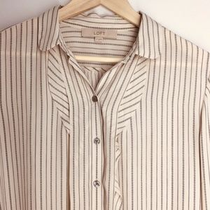Ann Taylor Loft Blouse Top Cream Stripe Ruffle